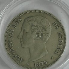 Monedas de España: MONEDA ESPAÑA ALFONSO XII 5 PESETAS. AÑO 1875. ESTRELLAS -- 75. DEM. . PLATA. DURO. MBC+. Lote 130921629
