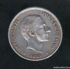 Monedas de España: 50 CENTAVOS DE PESO ALFONSO XII 1881 MANILA ( ISLAS FILIPINAS ) - PLATA. Lote 130973108