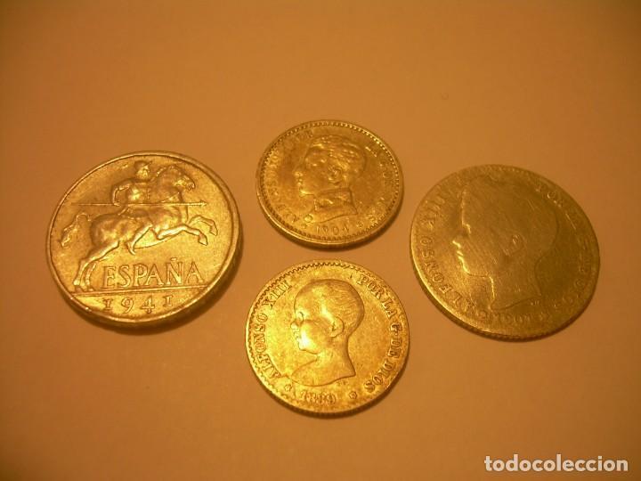 LOTE DE CUATRO MONEDAS..3 DE PLATA Y UNA DE ALUMINIO. (Numismática - España Modernas y Contemporáneas - De Isabel II (1.834) a Alfonso XIII (1.931))
