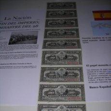 Monedas de España: TIRA DE BILLETES DE 20 CENTAVOS DEL BANCO ESPAÑOL DE LA ISLA DE CUBA. SIN CIRCULAR. AÑO 1.897. Lote 132412574