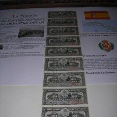 Monedas de España: TIRA DE BILLETES DE 20 CENTAVOS DEL BANCO ESPAÑOL DE LA ISLA DE CUBA. SIN CIRCULAR. AÑO 1.897. Lote 132413478