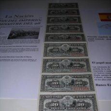 Monedas de España: TIRA DE 10 BILLETES DE 20 CENTAVOS DEL BANCO ESPAÑOL DE LA ISLA DE CUBA. SIN CIRCULAR. AÑO 1.897. Lote 132414102
