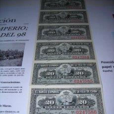 Monedas de España: TIRA DE 10 BILLETES DE 20 CENTAVOS DEL BANCO ESPAÑOL DE LA ISLA DE CUBA. SIN CIRCULAR. AÑO 1.897. Lote 132414770