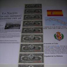 Monedas de España: TIRA DE BILLETES DE 20 CENTAVOS DEL BANCO ESPAÑOL DE LA ISLA DE CUBA. SIN CIRCULAR. AÑO 1.897. Lote 132415730