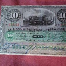 Monedas de España: 10 PESOS - BANCO ESPAÑOL DE CUBA. Lote 133184086
