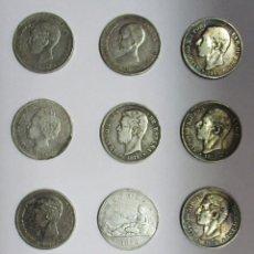 Monedas de España: 12 MONEDAS DE 5 PESETAS DE PLATA GOBIERNO PROVISIONAL, AMADEO I, ALFONSO XII, ALFONSO XIII LOTE-1206. Lote 133999570
