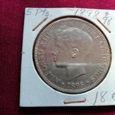 Monedas de España: EXCELENTE DURO DE 5 PESETAS DE PLATA DE 1898. Lote 134034214