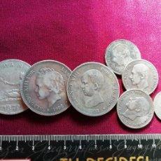 Monedas de España: LOTE DE 3 DUROS DE 5 PESETAS DE PLATA, 3 DE 2 PESETAS DE PLATA Y PESETA DE PLATA. Lote 134034482