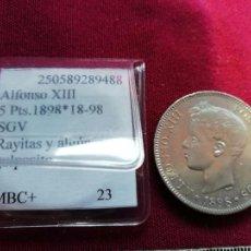 Monedas de España: EXCELENTE DURO DE 5 PESETAS DE PLATA DE 1898. Lote 134034826
