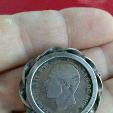 Monedas de España: 2 PESETAS DE PLATA 1881. MS-M ENGARZADA EN BROCHE MUY ANTIGUO DE PLATA !! ÚNICO !!. Lote 134117098