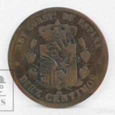 Monedas de España: MONEDA DE COBRE RESELLADA - ALFONSO XIII, 10 CÉNTIMOS AÑO 1879 - ¡AMNISTÍA! JUVENTUDES SOCIALISTAS. Lote 134395366