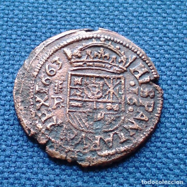 Monedas de España: 16 maravedis Felipe lV 1663 Segovia - Foto 2 - 134854622