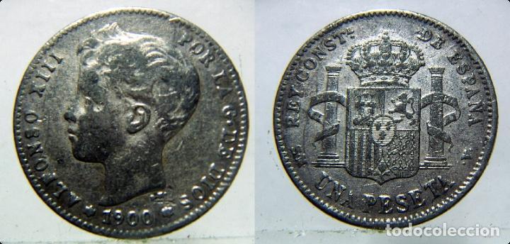 MONEDA DE ALFONSO XIII 1 PESETA 1900 FALSA DE ÉPOCA. (Numismática - España Modernas y Contemporáneas - De Isabel II (1.834) a Alfonso XIII (1.931))