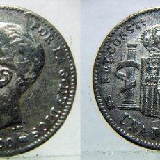Monedas de España: MONEDA DE ALFONSO XIII 1 PESETA 1900 FALSA DE ÉPOCA.. Lote 135037574