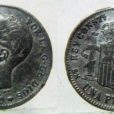 Monedas de España: MONEDA DE ALFONSO XIII 1 PESETA 1900 FALSA DE ÉPOCA.. Lote 155191128