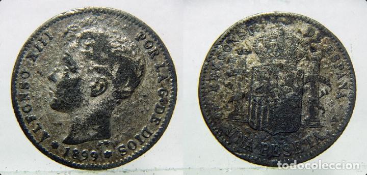 MONEDA DE ALFONSO XIII 1 PESETA 1899 FALSA DE ÉPOCA. (Numismática - España Modernas y Contemporáneas - De Isabel II (1.834) a Alfonso XIII (1.931))