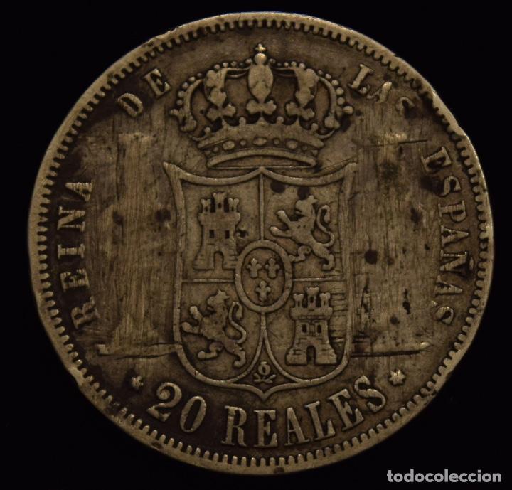 Monedas de España: 20 REALES ISABEL II COLUMNAS RASPADAS 1858 MADRID - Foto 2 - 135170270