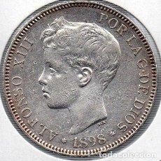 Monedas de España: ALFONSO XIII 5 PESETAS 1898, PLATA.. Lote 136223610