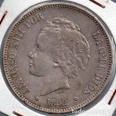 Monedas de España: ALFONSO XIII 5 PESETAS 1892, PLATA.. Lote 136231306