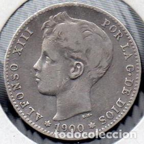 MONEDA DE ALFONSO XIII 1 PESETA 1900, PLATA. (Numismática - España Modernas y Contemporáneas - De Isabel II (1.834) a Alfonso XIII (1.931))
