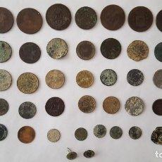 Monedas de España: MONEDA / ESTUPENDO LOTE DE 48 PIEZAS SE INCLUYE BOTON DE ISABEL II. Lote 136604106