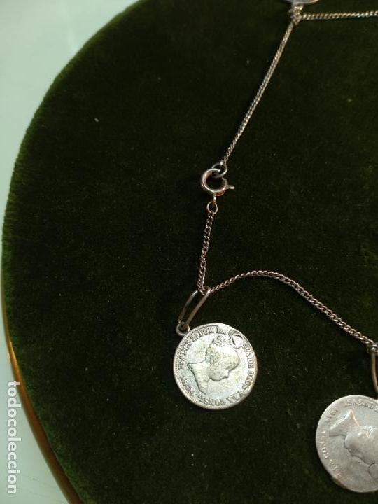 Monedas de España: BONITA E INTERESANTE PULSERA DE PLATA CON 7 MONEDAS DE 1 REAL DE ISABEL II - DIFERENTES AÑOS - - Foto 2 - 136993310