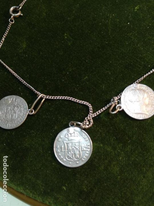Monedas de España: BONITA E INTERESANTE PULSERA DE PLATA CON 7 MONEDAS DE 1 REAL DE ISABEL II - DIFERENTES AÑOS - - Foto 7 - 136993310