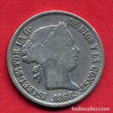 Monedas de España: MONEDA PLATA , ISABEL II , 20 CENTAVOS DE PESO 1868 , FILIPINAS , MANILA , MBC , ORIGINAL , B24. Lote 137545310