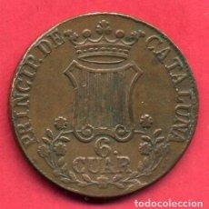Monedas de España: MONEDA COBRE , 6 CUAR , PRINCIPADO DE CATALUÑA , 1846 , MBC , ORIGINAL , B24. Lote 137549662