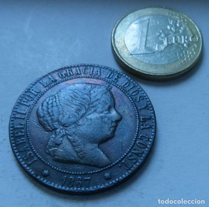 MONEDA DE 5 CENTIMOS DE ESCUDO DE ISABEL II AÑO 1867 CECA DE BARCELONA MBC (Numismática - España Modernas y Contemporáneas - De Isabel II (1.834) a Alfonso XIII (1.931))