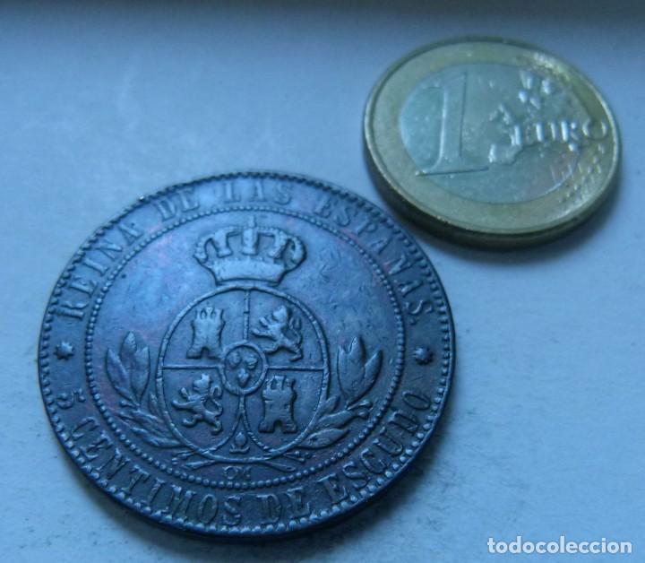 Monedas de España: MONEDA DE 5 CENTIMOS DE ESCUDO DE ISABEL II AÑO 1867 CECA DE BARCELONA MBC - Foto 2 - 138217274