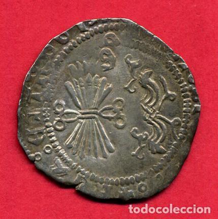 MONEDA PLATA , REYES CATOLICOS , 1 REAL GRANADA , ANVERSO CRUCES , MBC+ , ORIGINAL , M1228 (Numismática - España Modernas y Contemporáneas - De Reyes Católicos (1.474) a Fernando VII (1.833))