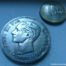Monete da Spagna: MONEDA DE PLATA DE 5 PESETAS DE ALFONSO XII AÑO 1881*18*81. Lote 139099546