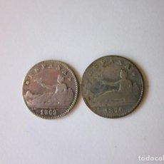 Monedas de España: 2 MONEDAS. 50 CÉNT. GOB. PROVISIONAL. 1869 Y 1870. PLATA. ESCASAS.. Lote 139632542