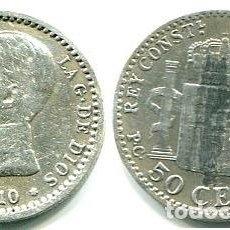 Monedas de España: 50 CÉNTIMOS 1910 * 1-0 PGV EL PLUS ULTRA Y ESTRELLAS, POCO MARCADOS. PERO SE VEN. Lote 140365530