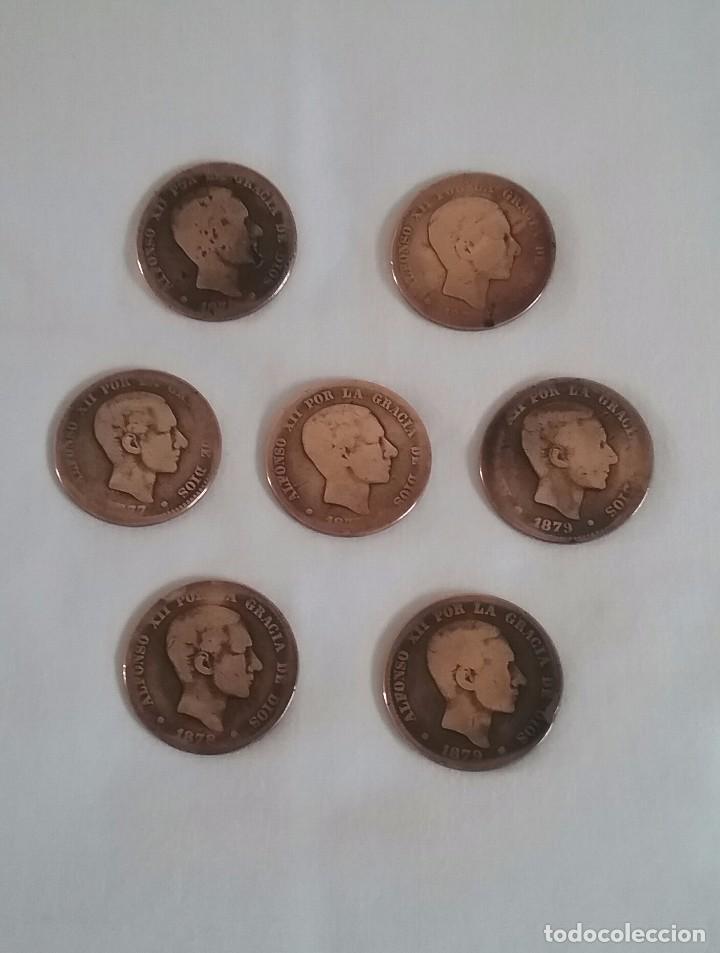 LOTE 7 MONEDAS DE COBRE.DIEZ CENTIMOS.ALFONSO XII. 1877-1878-1879. (Numismática - España Modernas y Contemporáneas - De Isabel II (1.834) a Alfonso XIII (1.931))
