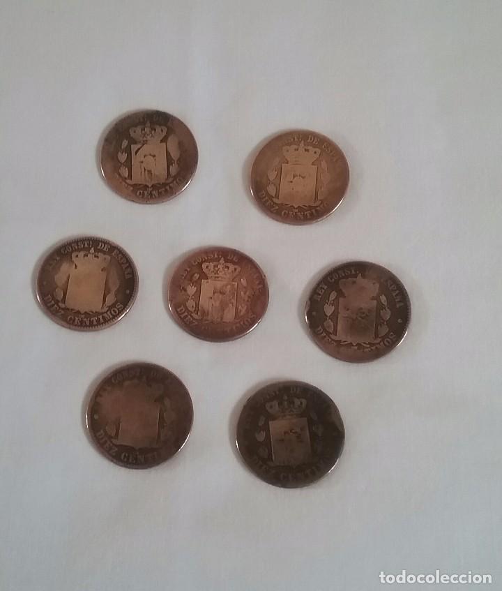 Monedas de España: LOTE 7 MONEDAS DE COBRE.DIEZ CENTIMOS.ALFONSO XII. 1877-1878-1879. - Foto 2 - 140502954