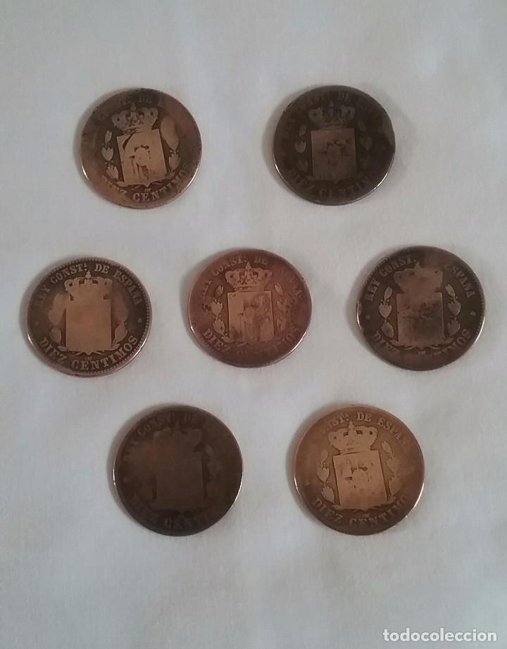 Monedas de España: LOTE 7 MONEDAS DE COBRE.DIEZ CENTIMOS.ALFONSO XII. 1877-1878-1879. - Foto 4 - 140502954