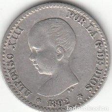 Monedas de España: ALFONSO XIII: 50 CENTIMOS 1892 - ESTRELLAS 9-2 / PLATA. Lote 141123350