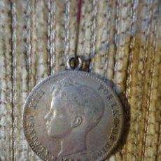Monedas de España: MONEDA DE PLATA DE LEY ALFONSO XIII AÑO 1900 UNA PESETA. CON ENGARCE. Lote 141154054