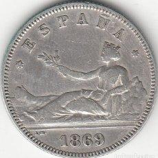 Monedas de España: I REPUBLICA: 2 PESETAS 1869 - ESTRELLAS 18-69 / PLATA. Lote 141208054