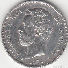 Monedas de España: AMADEO I: 5 PESETAS 1871 - ESTRELLAS 18-71 / PLATA. Lote 141273254
