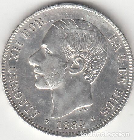 ALFONSO XII: 5 PESETAS 1884 - ESTRELLAS 18-84 / PLATA (Numismática - España Modernas y Contemporáneas - De Isabel II (1.834) a Alfonso XIII (1.931))