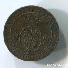 Monedas de España: ISABEL II. MEDIO CENTIMO DE ESCUDO. 1868. SEGOVIA. Lote 141465770