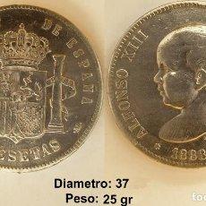 Moedas de Espanha: ESPAÑA - 5 PESETAS, 1888 - PLATA 900. Lote 141533338