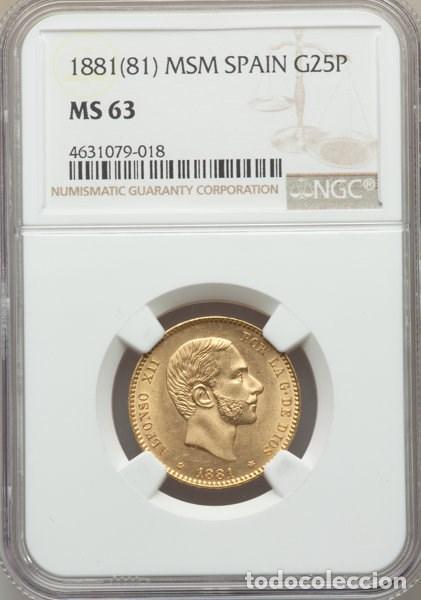 SPAIN - ALFONSO XII - 25 PESETAS DE ORO - AÑO 1881 MSM - GARANTIA NGC - SIN CIRCULAR - (Numismática - España Modernas y Contemporáneas - De Isabel II (1.834) a Alfonso XIII (1.931))