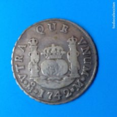 Monedas de España: FELIPE V 2 REALES PLATA 1742 MEXICO M COLUMNARIO. Lote 142891198