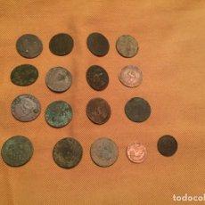 Monedas de España: ANTIGUAS 17 MONEDA / MONEDAS GOBIERNO PROVISIONAL 2 CENTIMOS AÑO 1870 VARIOS AÑOS COBRE. Lote 143228778