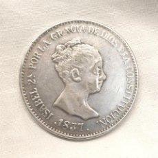Monedas de España: ISABEL II REINA DE LAS ESPAÑAS AÑO 1837 MCL 20 REALES DE PLATA. Lote 143601658