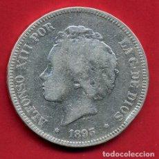 Monedas de España: MONEDA 5 PESETAS 1893 PGV ,ALFONSO XIII , ESTRELLAS NO VISIBLES , DURO PLATA , MBC- ,ORIGINAL, D2648. Lote 143616242